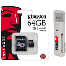 Kingston 64GB MicroSD XC Class 10 UHS-1 TF MicroSDHC TransFlash 45MB/s Read High Speed Memory Card SDC10G2/64GB with SD Adapter and USB 2.0 MemoryMarket Dual Slot MicroSD & SD Memory Card Reader