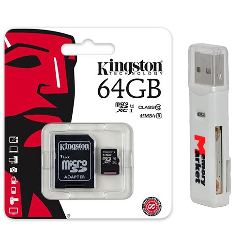 D XC Class 10 UHS-1 TF MicroSDHC TransFlash 45MB/s Read High Speed Memory Card SDC10G2/64GB with SD Adapter and USB 2.0 MemoryMarket Dual Slot MicroSD & SD Memory Card Reader (Transflash Adapter)