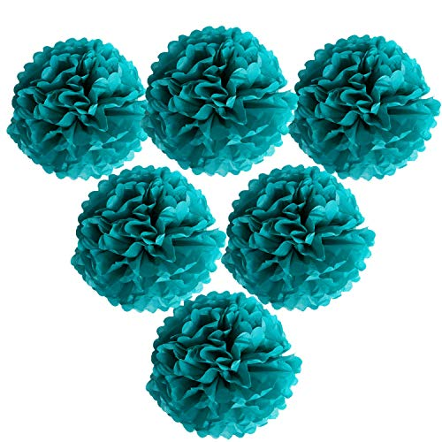 Landisun Wedding Birthday Party Room Decoration Tissue Paper Flower Poms 10quot Inches Pack of 6 Teal