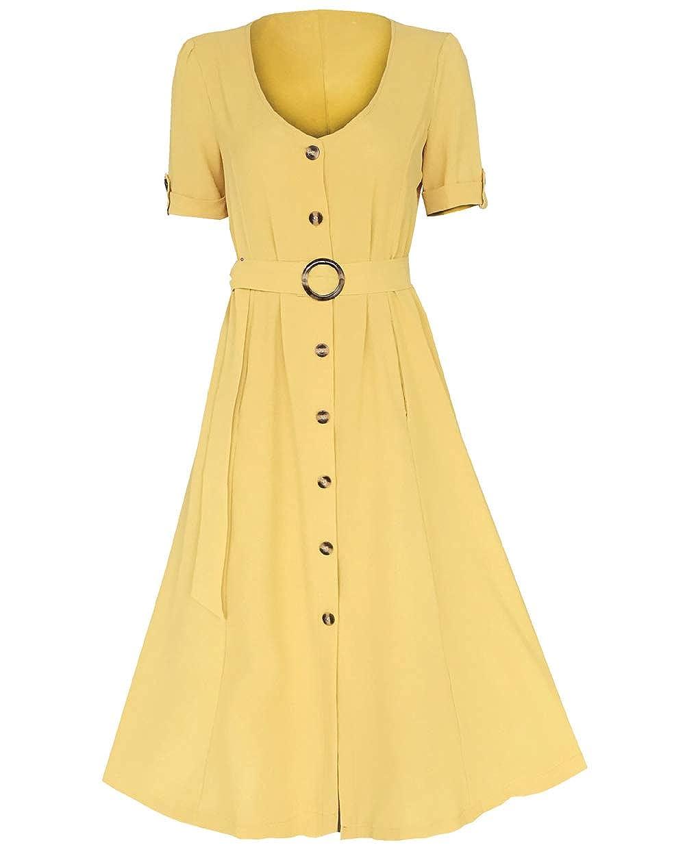 TOPUSH Womens V Neck Short Sleeve Button Down Tie Waist Striped Shirt Midi Dress
