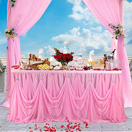 Leegleri 9ft Pink Tulle Tutu Table Skirt for Rectangle or Round Table Ruffle Tablecloths for Party,Baby Shower,Birthday,Wedding,Table -