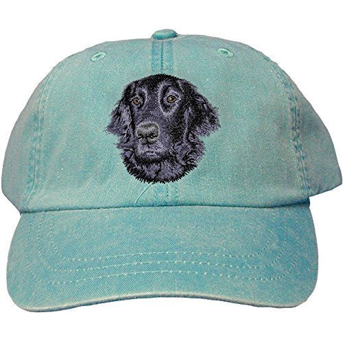 Cherrybrook Dog Breed Embroidered Adams Cotton Twill Caps - Caribbean Blue - Flat Coated Retriever