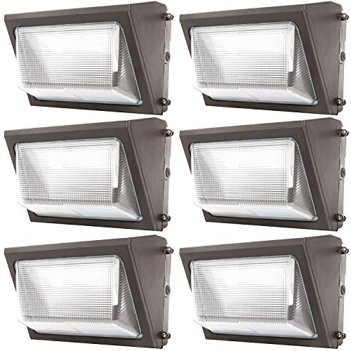 Sunco Lighting 6 Pack 80W LED Wall Pack, Daylight 5000K, 7600 LM, HID Replacement, IP65, 120-277V, Bright Consistent Commercial Outdoor Security Lighting - ETL, DLC Listed ()