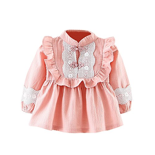 Birdfly Toddler Baby Girls Frilled Ruffle Blouse With Lace Detail Cute Long Sleeve Shirt Tops (18M, (Girls Long Sleeve Ruffled Blouse)