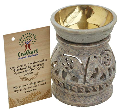 Diffuser Tealight - Crafkart Limited Stock 4 Inches Natural Hand Carved Stone Tea Light Holder, Aromatherapy Essential Oil Warmer Burner Candle Holder Furnace Diffuser Home Decorative for Spa Yoga Meditation