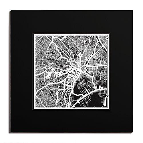 O3 Design Studio Tokyo Paper Cut Map Matted Black 20x20 inches Paper Art