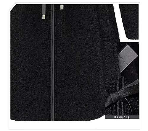 laine d'hiver manteau Cordon Survêtement Manteaux mode Chaud à de pour Journée en de loisirs élégante joli capuche Schwarz Transition longues manches de fourrure femmes Fxfq1w