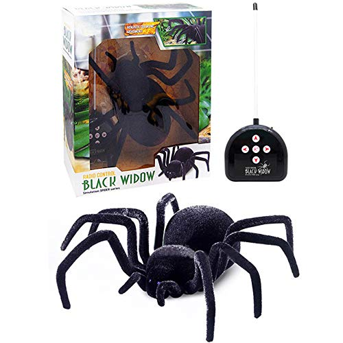 Yoochin Remote Control Realistic RC Spider Scary Toy Prank Model A Giant Black Widow Spider Halloween Toy Gifts]()