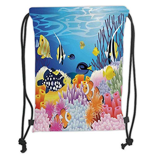 Custom Printed Drawstring Backpacks Bags,Ocean Decor,Water Life with Different Kind of Fishes Coral Reefs and Sponges Kids Nursery Theme,Multi Soft Satin,5 Liter Capacity,Adjustable String Closur