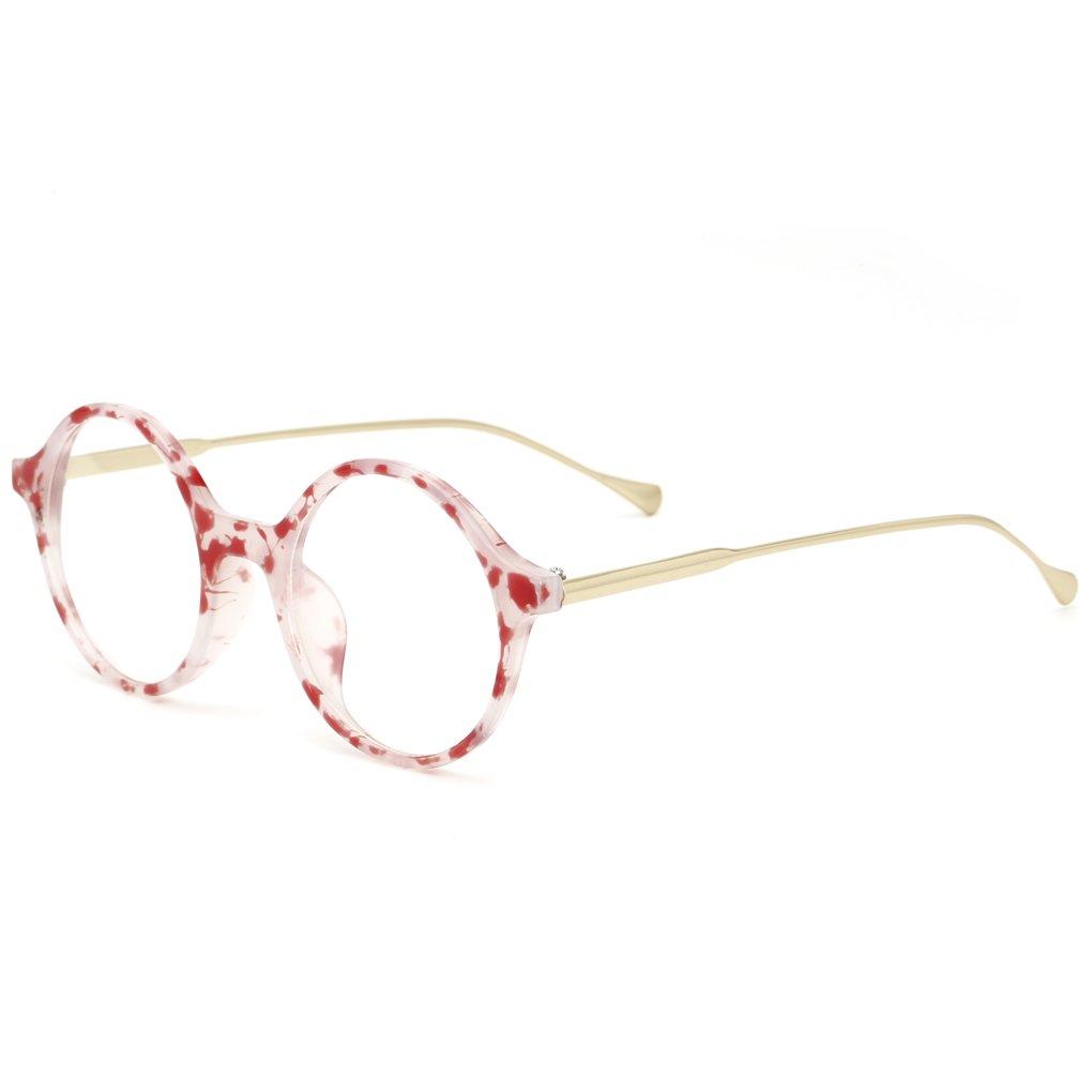 QHGstore Runde Brille Rahmen Damen Herren Luxuxweinlese-PC Material ...