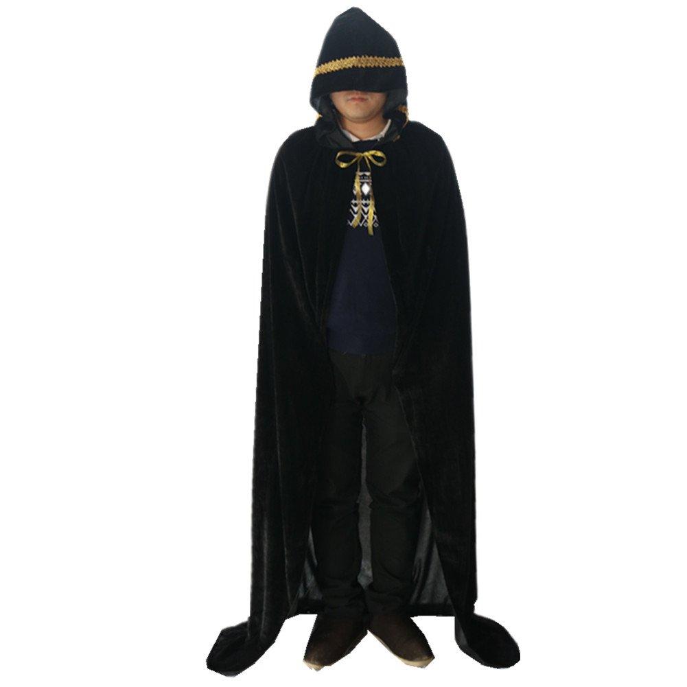 Labellevie Lange Umhang mit Kapuze Samt Mit Spitzengold Cape Vampir Kostüm Halloween Erwachsener Unisex Grau 110cm