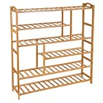 Ollieroo Bamboo Shoe Rack 6-Tier Entryway Shoe Shelf Storage Organizer Free Standing Shelves