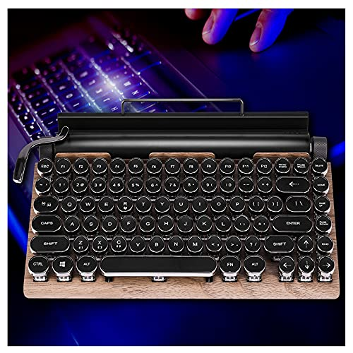 Retro Typewriter Mechanical Keyboard - Durable Dot Retro Keyboard Punk Keycap,USB Wired & Bluetooth Wireless Keyboard,with Tablet Stand for Phone and Pad (A#Gaming Keyboard)