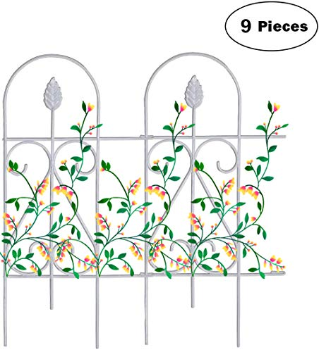"""Mr.Garden Edging Fence Metal Decorative Garden Barrier Panels 15""""x32"""", Dog Outdoor Fence, Coated Folding Border Fences for Garden Patio Tree Ring, 9pack, White"""
