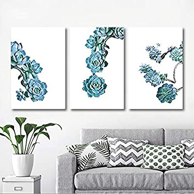 3 Panel Canvas Wall Art - Blue Succulent Plants on White Background - Giclee Print Gallery Wrap Modern Home Art Ready to Hang - 16