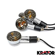 Krator Motorcycle 4pcs Smoke Front and Rear Chrome Turn Signals Indicators Blinkers Lights Fits Metric Cruisers Harleys Round Chrome Turn Signals Blinkers Suzuki Honda Kawasaki Yamaha Scooters