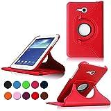 Samsung Tab 3 Lite 7.0 Custodia in Pelle,PU Caso Case Cover Custodia in Pelle per Samsung Galaxy Tab 3 Lite 7.0'' Tablet SM-T110 SM-T111 SM-T113 SM-T116 Smart Case Cover con Supporto(Rosso)