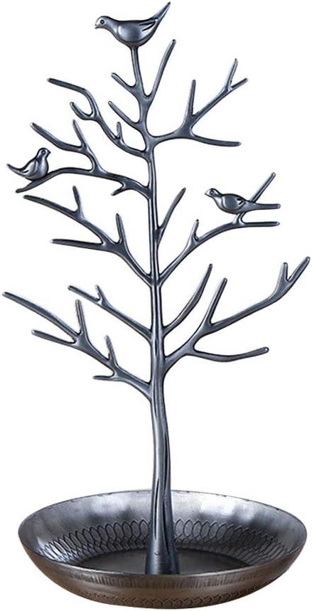 Takefuns - Organizador para decoración de pájaros, Soporte para Pendientes, Collares, Joyas, árboles, brazaletes, Soporte para Horquillas para Anillos, Plateado, 30.5x15CM