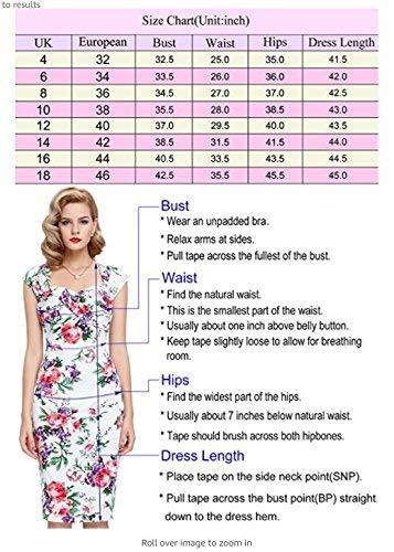 Paquete Estampado Corta Mode Mujeres 9 1950s Lápiz Redondo Rockabilly Manga Tubo Rodilla Vestido Cóctel Cadera Hasta Floral La Marca Vintage Ajustado De Cuello Bp117 U4w6T0Fq