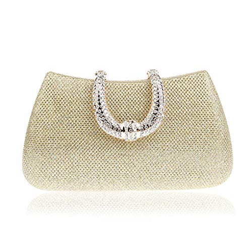 Women Crystal U Diamond Clasp Clutch Glitter Silver Evening Bags Gold Party Purse Woman Handbag gold