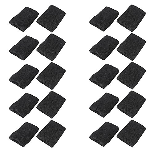 Mallofusa 10 Pack Colorful Sports Basketball Football Absorbent Wristband Party Outdoor Activity - Sweatband Wrist Black