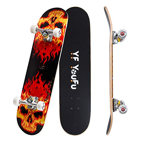 YF YOUFU Complete Skateboards, 31 inch Pro Skateboard for Boys Girls Kids Youth Adults, Tricks Skate Board for Beginners Pro, Double Kick 7 Layer Canadian Maple Wood Concave Skateboard