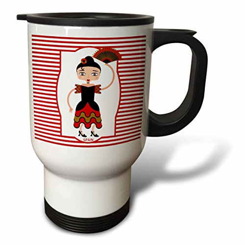 3dRose tm_160621_1 Spain Is Represented By a Flamenco Dancer, Flamenco Is Spanish Popular Folk Music Travel Mug, 14-Ounce, Stainless Steel by 3dRose