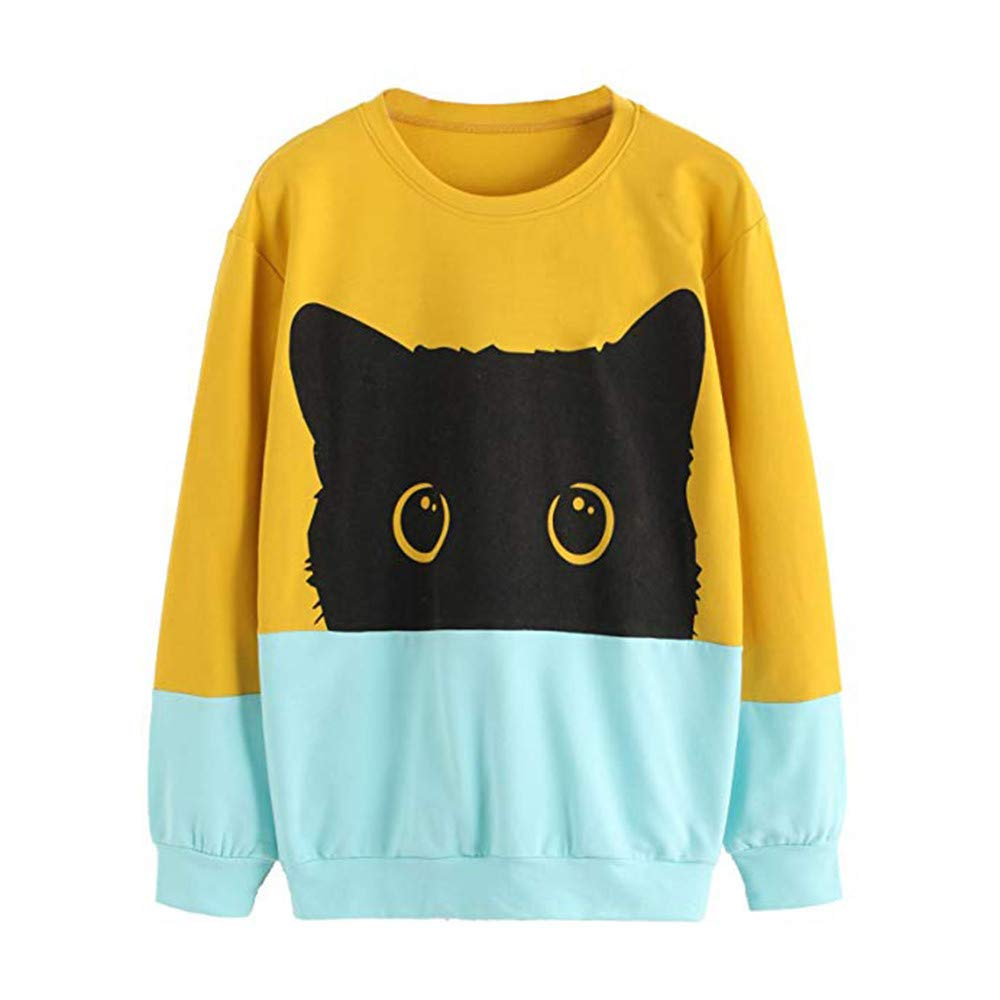 vermers Clearance Women Casual Color Block Sweatshirt Women Leisure Cat Print Long Sleeve Pullover Tops(S, Yellow)