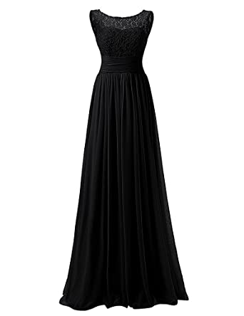 Loffy Long Prom Dress Bridesmaid Dress Lace Chiffon Evening Gown Black Size 2