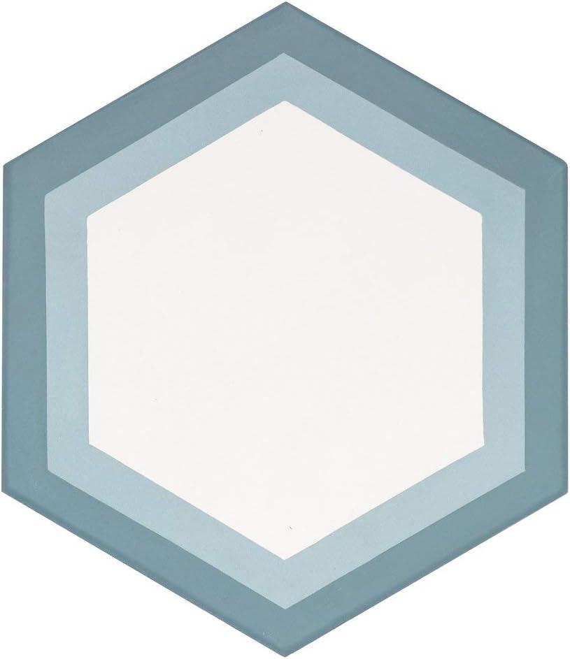 Sample Swatch MTO0560 Modern 8X8 Hexagon White Baby Blue Turkish Blue Matte Cement Tile