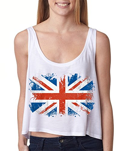 Union Jack British Flag Boxy Tank Top United Kingdom Flag Tank Tops Medium White #16480