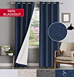 Flamingo P 100% Light Blocking Thermal Insulated Drapes 84 Inches Long Rich Linen Look Curtains with White Backing for Bedroom/Living Room 84 inch Long Grommet Thick Window Treatment 2 Panels, Navy