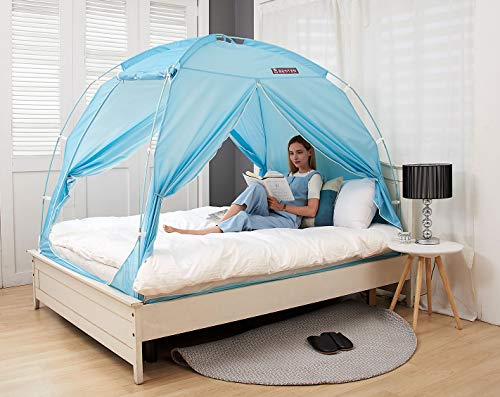 BESTEN Floorless Indoor Privacy Tent on Bed with Color Poles for Cozy Sleep in Drafty Rooms (Full/Queen, Blue Mint(CP))