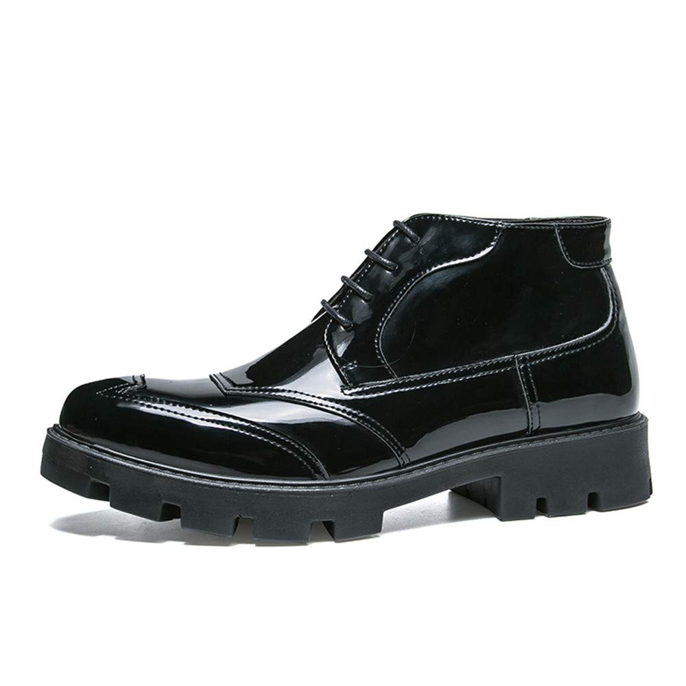 Hilotu Clearance Men's Ankle Boots Winter High-top Cotton Warm Pointed Patent Leather Brogue Shoes (Standard Shoes Without Fur is Accept) (Color : Black, Size : 9 D(M) US)