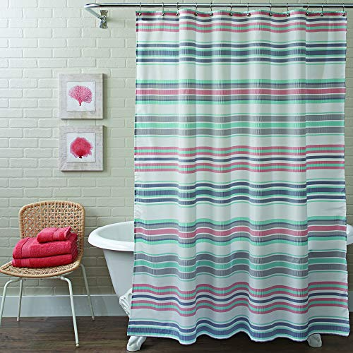 Better Homes & Gardens Waffle Stripe Grey Shower Curtain, 1 Each