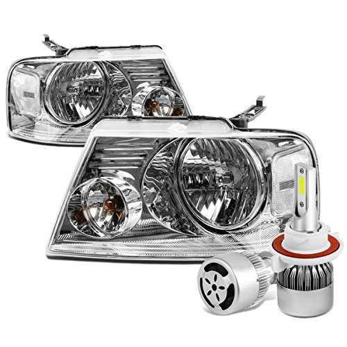 For Ford F-150 11th Gen Pair of Chrome Housing Clear Corner Headlight + H13 LED Conversion Kit W/Fan