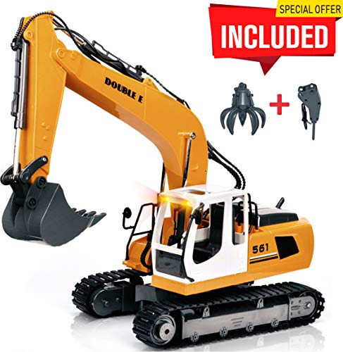 (DOUBLE E 17 Channel Full Functional Remote Control Truck Metal Shovel RC Excavator with 2 Bonus Drill and Grasp)