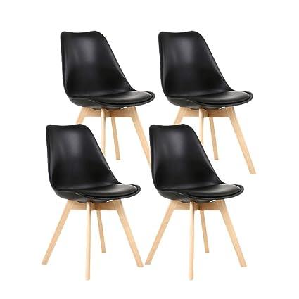 f9984eb33de6e YEEFY Dining Chairs Side Chair DSW Dining Chair Walnut Legs, Set of 4(Black)