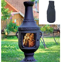 Blue Rooster Venetian Style Wood Burning Outdoor Metal Chiminea Fireplace Charcoal Color with Large Black Cover