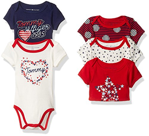 tommy-hilfiger-baby-girls-print-and-solid-bodysuits-red-navy-stars-3-6-months-pack-of-5