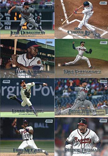 2019 Topps Stadium Club Baseball Atlanta Braves Team Set of 16 Cards: Touki Toussaint(#3), Josh Donaldson(#4), Kyle Wright(#6), Fred McGriff(#16), Freddie Freeman(#27), Ender Inciarte(#40), Bryse Wilson(#49), Mike Foltynewicz(#50), Hank Aaron(#54), Ronald Acuña Jr.(#56), Chipper Jones(#78), Dansby Swanson(#82), Eddie Mathews(#90), Ozzie Albies(#97), Dale Murphy(#98), Warren Spahn(#205) (Atlanta Baseball Stadium)