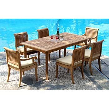 Amazoncom  New Pc GradeA Teak Outdoor Dining Setone Double - Teak outdoor dining table