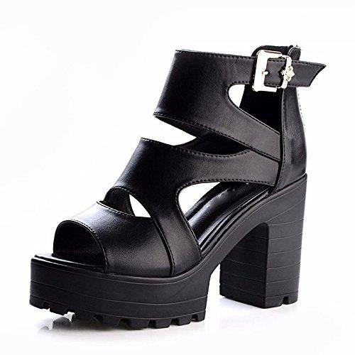 Hebilla de GTVERNH para de Medio 8 de Fondo Silvestre Alto Zapatos Tacón cm de Mujer Talón Grueso beige Sandalias r5q77Ixv0