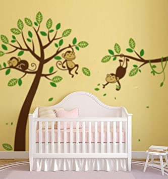 x diseo de monos en mural de papel para pared de habitacin grande guardera