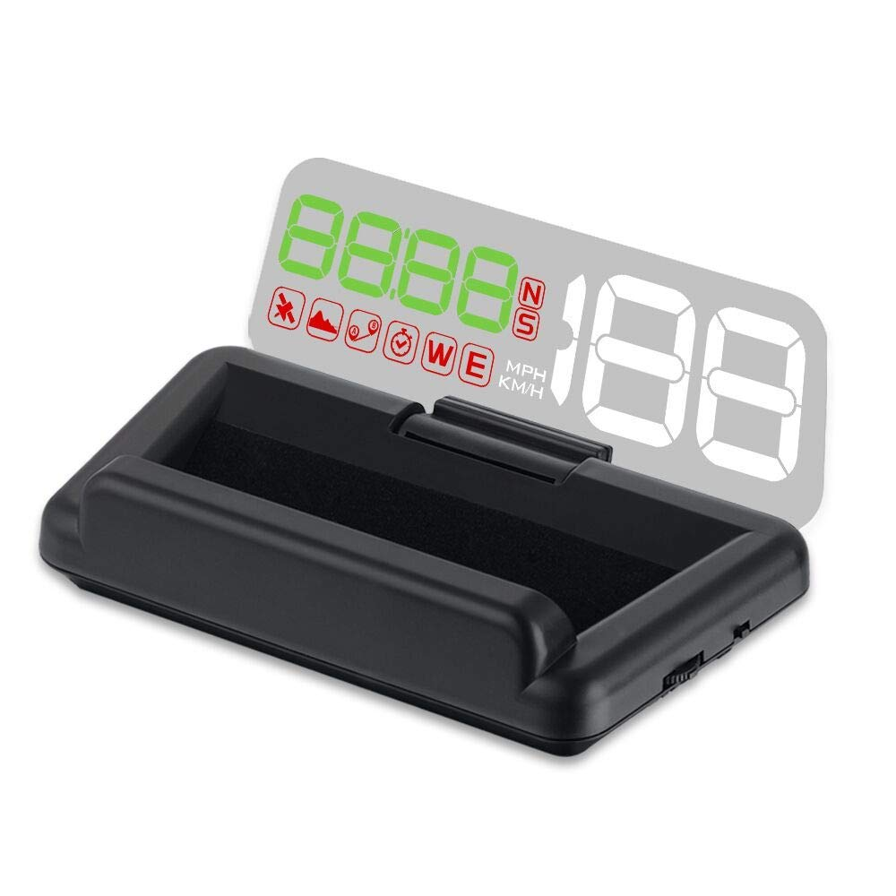 Head Up Display, TIMPROVE Universal Car HUD GPS Speedometer with Colorful Digital LED Projector, Multifunctional Car Speed Display with Overspeed Alarm, Battery Voltage, Driving Direction, Clock time