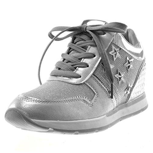 Angkorly Damen Schuhe Sneaker - Sporty Chic - Tennis - Metallischen - Stern - Glänzende Flache Ferse 2.5 cm Silber