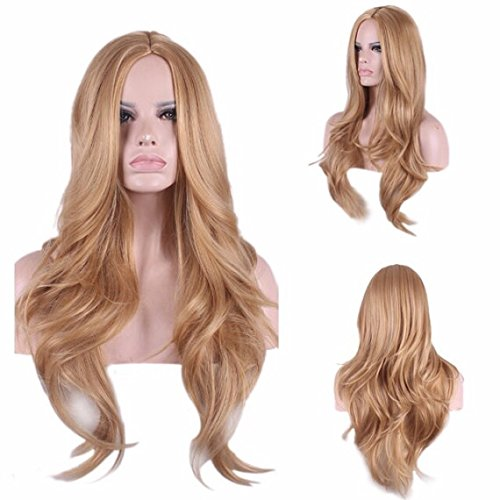 Custom Unique Style Natural Light Strawberry Blonde Auburn Synthetic Long  Thick Wavy Layers Womens Full Hair