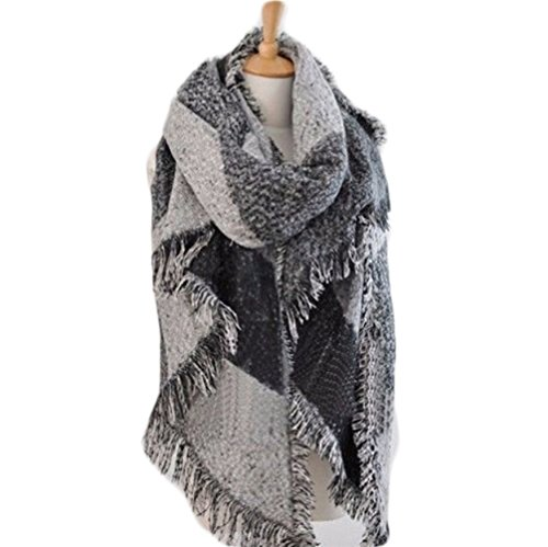 Plaid Blanket Scarf Women Big Square Long Cashmere Winter Wool Blend Scarves Warm Tartan Checked Shawl (classic gray)