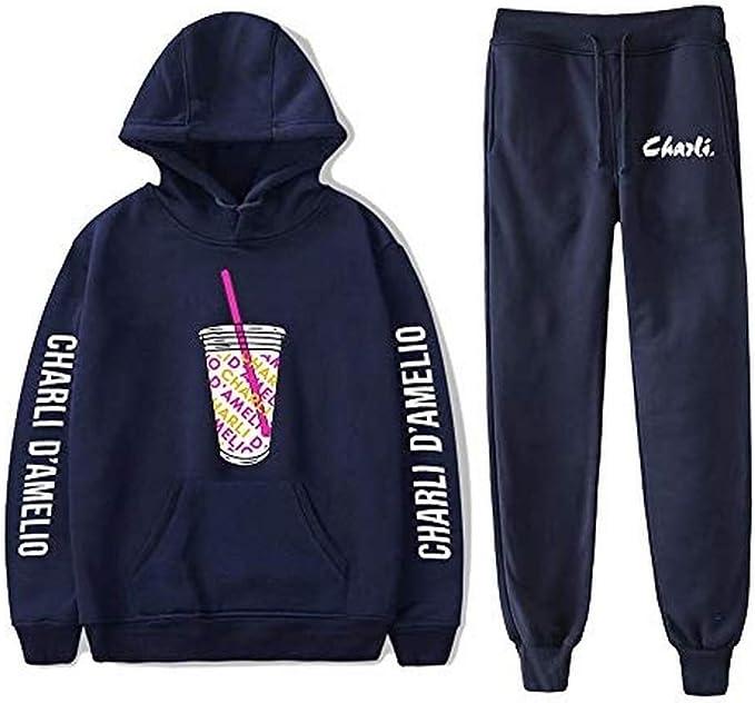 zweiteiliges Set Damen//Herren Kleidung Charli Damelio Kapuzenpullover und lange Hose Sweatshirt Eiskaffee