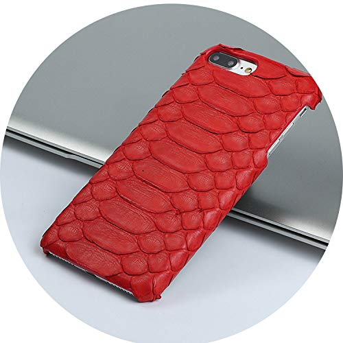 (Genuine Leather Python Skin Scratchproof Phone case for iPhone x xS XR 5 6 7 8 8plus Soft Touch Luxury Half Pack Protective case,red,for iPhone 7P 8 Plus)